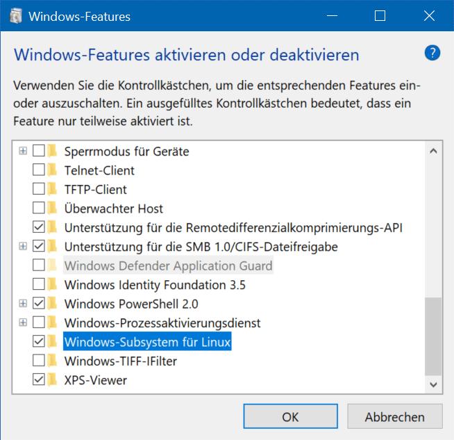 Der Dialog für das Aktivieren des Windows-Subsystems für Linux